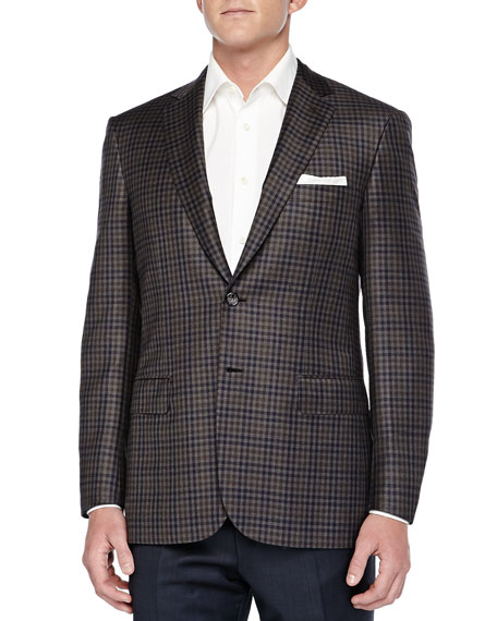 Brioni Check Two-Button Jacket, Olive/Navy
