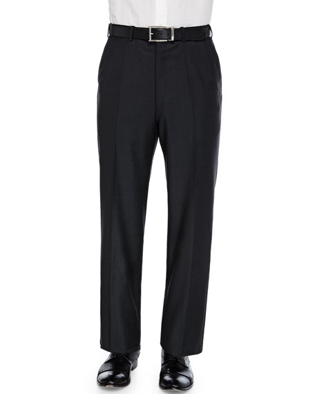 Brioni Tic Flat-Front Trousers, Charcoal