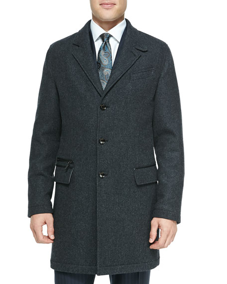 Ermenegildo Zegna Single-Breasted Overcoat, Charcoal