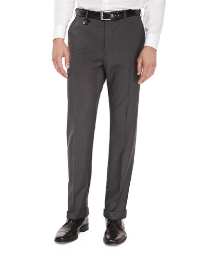 Benson Wool Trousers, Melange Gray