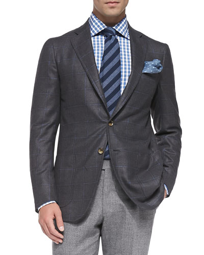 Windowpane Two-Button Jacket, Gray/blue