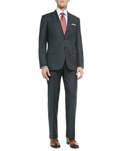 Herringbone Two-Piece Suit, Gray