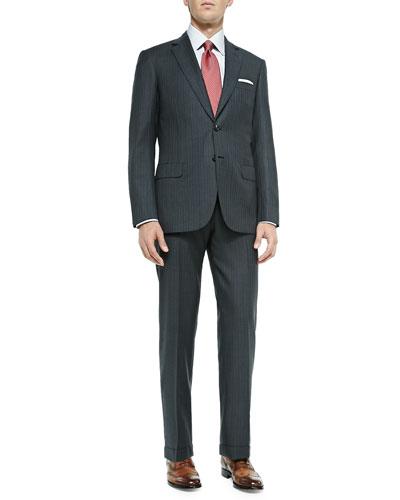 Herringbone Two-Piece Suit, Gray