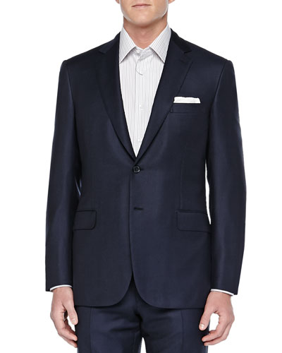 Birdseye Two-Piece Suit, Navy