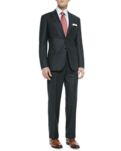 Shadow-Box-Check Suit, Gray