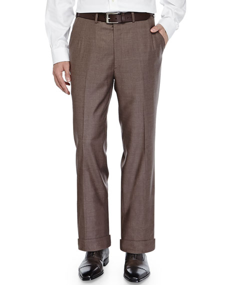Brioni Twill Flat-Front Trousers, Brown