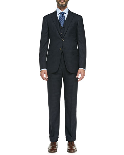 Check Three-Piece Suit, Navy