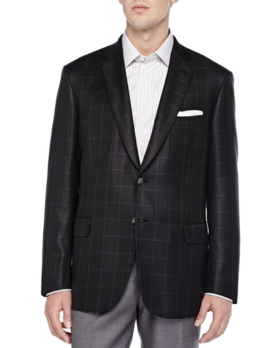 Check Houndstooth Two-Button Jacket, Charcoal/Black