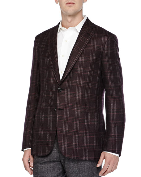 Brioni Plaid Two-Button Plaid, Burgundy