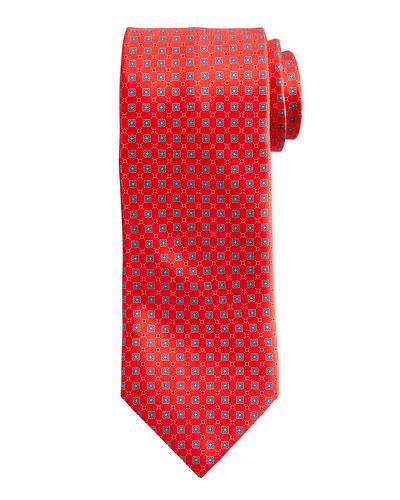 Neat Square Silk Tie, Navy/Red