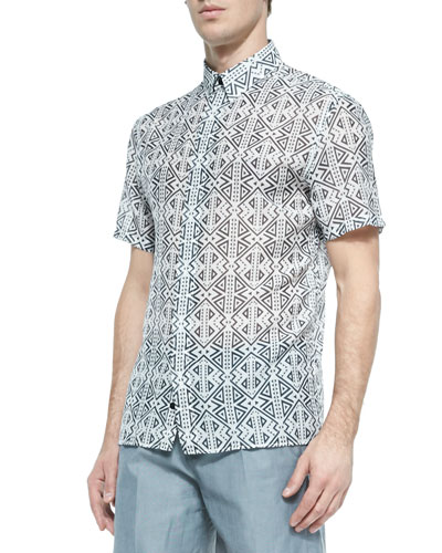 Geometric-Print Short-Sleeve Woven Shirt, Black/Gray