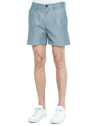 Pleated Bermuda Shorts, Gray