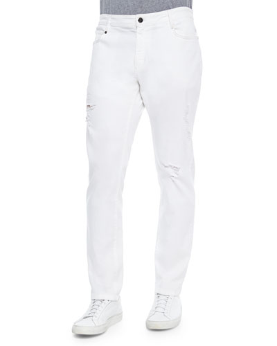 Slim-Fit Distressed Stretch Denim, White