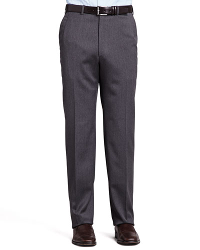 Flat-Front Twill Pants, Gray