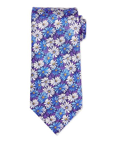 Floral Daisy-Print Tie, Blue