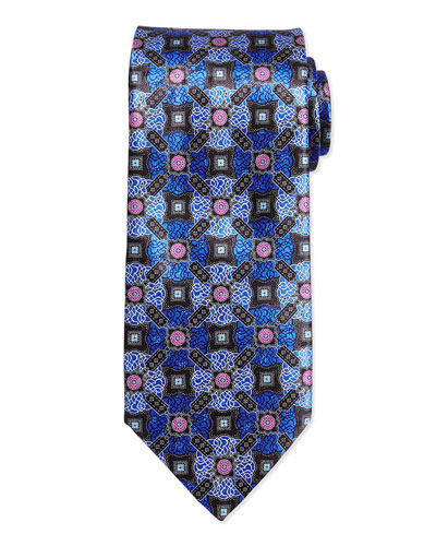 Satellite Medallion Tie, Blue