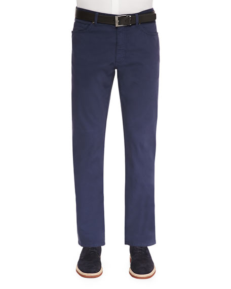 Ermenegildo Zegna Five-Pocket Stretch-Cotton Pants, Navy