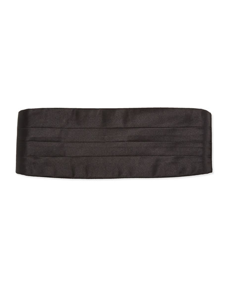 Solid Silk Satin Cummerbund, Black