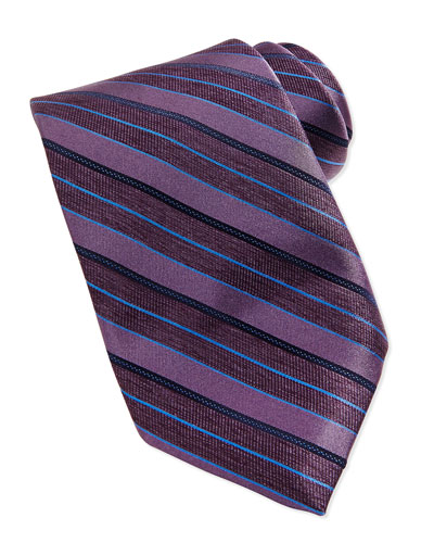 Repp Stripe Silk Tie, Purple