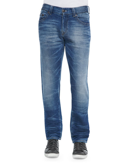 True Religion Geno Clear Waters Straight-Leg Denim Jeans,