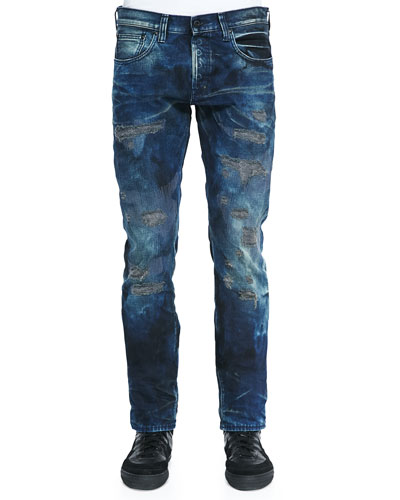 Grave Rip-and-Repair Distressed Jeans, Indigo