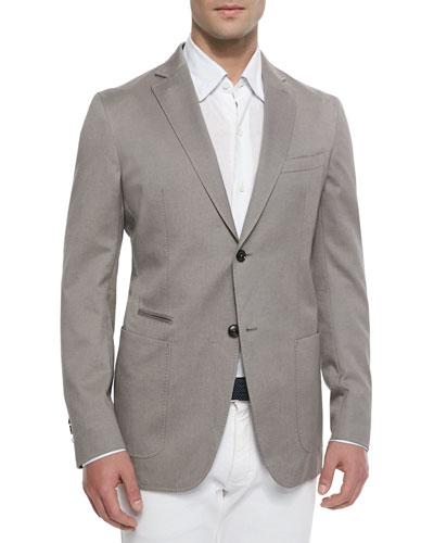 Basketweave Soft Two-Button Unlined Jacket, Beige