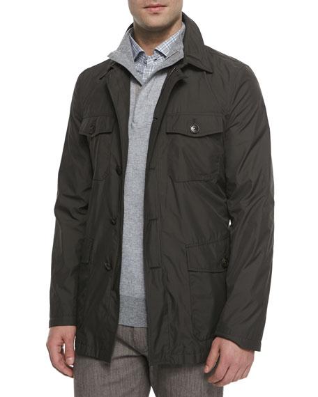 Ermenegildo Zegna Microfiber Military-Style Safari Jacket, Green