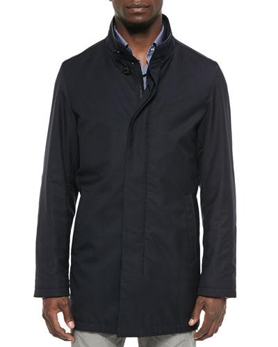 Teo Leather-Trim Wool Jacket, Navy