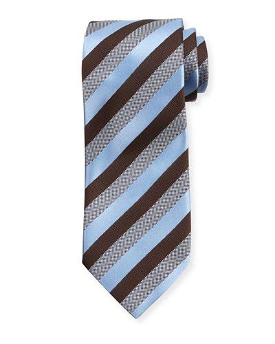 Woven Matte Striped Silk Tie, Brown