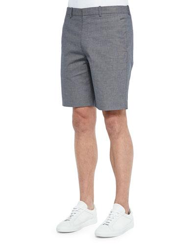 Micro Texture Bermuda Shorts, Navy/Multi