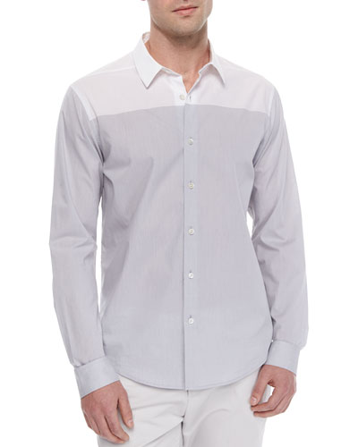 Colorblock Long-Sleeve Sport Shirt, Light Gray/White