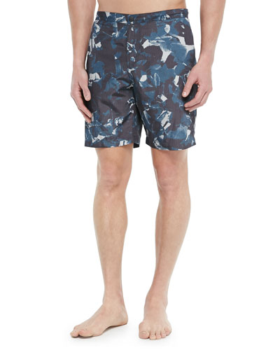 Floral-Print Swim Trunks, Navy