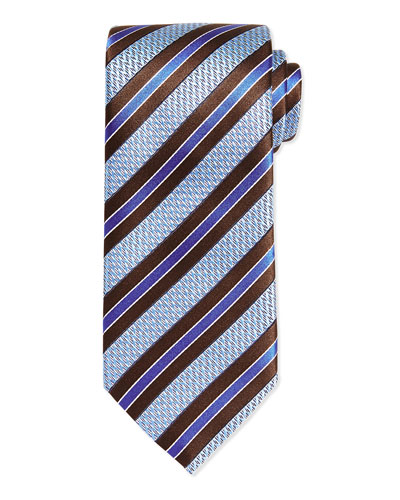 Woven Textured Zigzag Grenadine Stripe Tie, Brown