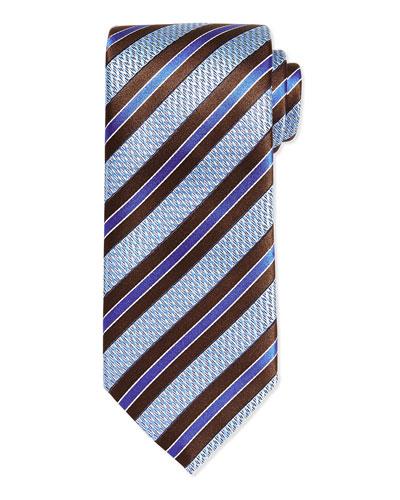 Woven Textured Zigzag Grenadine Stripe Tie, Brown