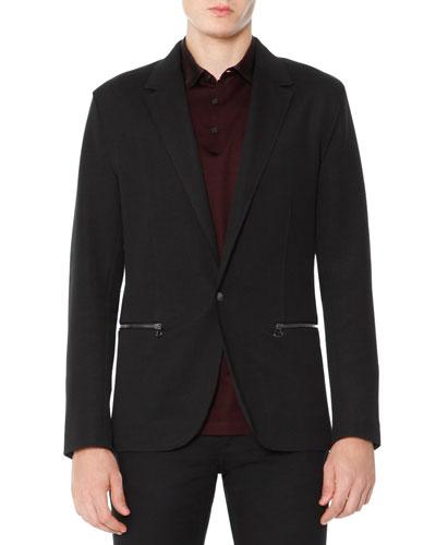 Zip-Pocket One-Button Jacket, Black