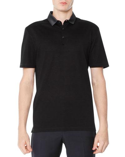 Grosgrain-Collar Polo, Black