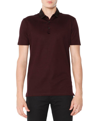 Grosgrain-Collar Polo, Burgundy