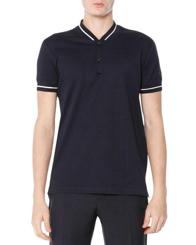 Baseball-Collar Polo Shirt, Navy Blue
