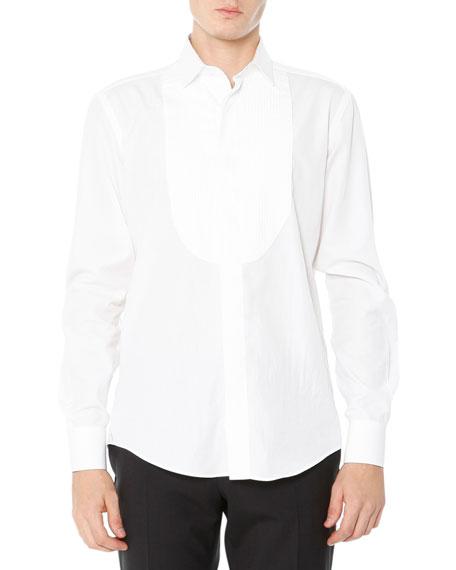 Lanvin Tuxedo Shirt with Pleated Bib, White