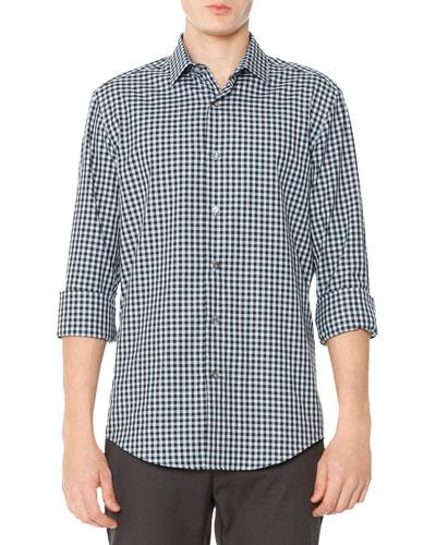 Gingham-Check Poplin Shirt, Blue/Black