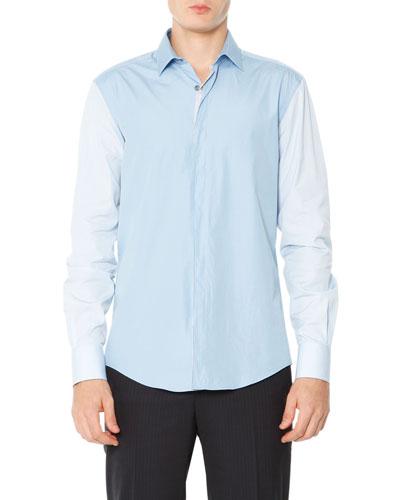 Colorblock Poplin Shirt, Pale Blue