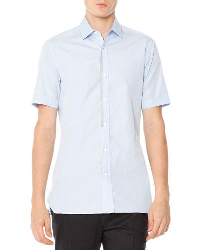 Short-Sleeve Poplin Shirt with Grosgrain Trim, Pale Blue