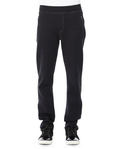 Neoprene Sweatpants, Navy Blue