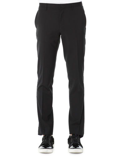 Evening Trousers with Velvet Piping, Black
