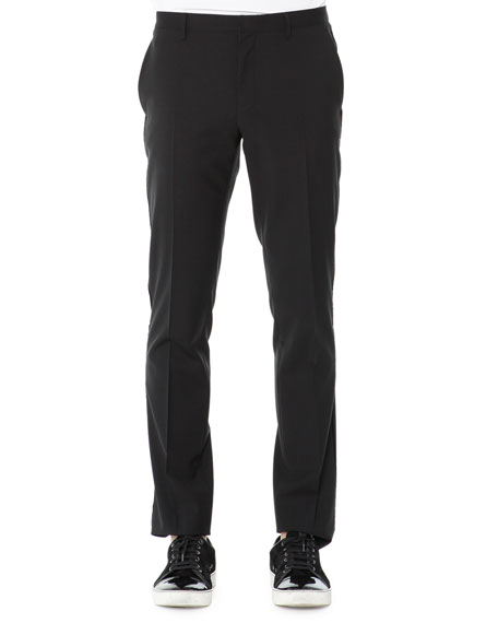 Lanvin Evening Trousers with Velvet Piping, Black
