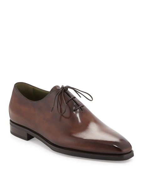 Berluti Alesandro Burnished Leather Oxford, Brown