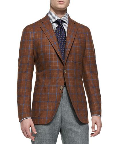Wool/Cashmere Windowpane Soft Jacket, Rust/Blue