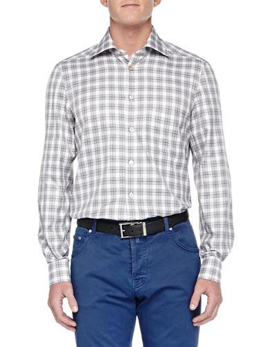 Long-Sleeve Plaid Shirt, White/Navy
