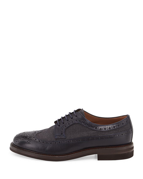 Wing Tip Lace-Up Oxford, Navy/Anthracite