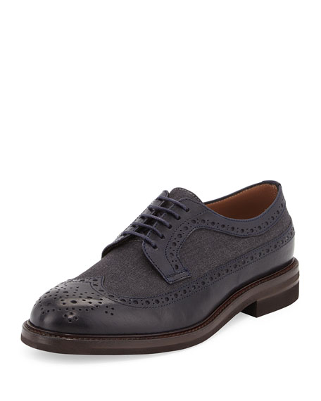 Brunello Cucinelli Wing Tip Lace-Up Oxford, Navy/Anthracite